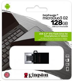 128 GB . USB 3.1 klúč . Kingston DataTraveler MicroDuo 3 Gen