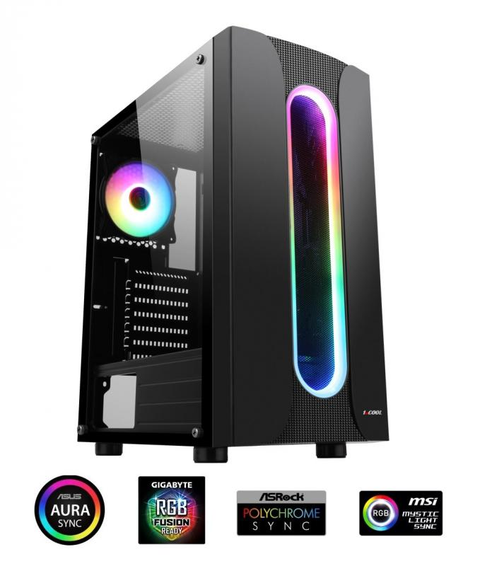 1stCOOL Miditower SAURON Aura ARGB LED fan, skrinka ATX, USB