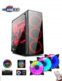 1stCOOL FullTower GAMER 3, set FAN AURA ARGB LED, skrinka AT
